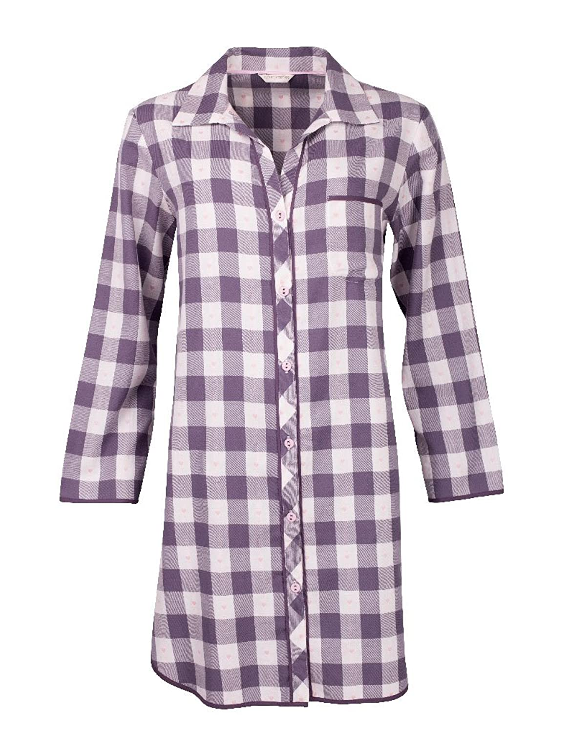Cyberjammies Humming Bird Heart Dobby Check Grey Cotton Woven Nightshirt 0719