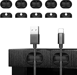 Cable Clips Cord Management Organizer, Adhesive Hooks, Wire Cord Holder Power Cords Charging Accessory Cables, Mouse Cable, PC, Office Home (10 Packs, Black)