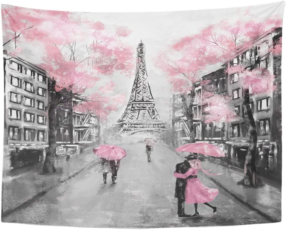 TOMPOP Tapestry Oil Painting Paris European City Landscape France Eiffel Tower Black White Pink Modern Couple Under Home Decor Wall Hanging Living Room Bedroom Dorm 60x80 inches