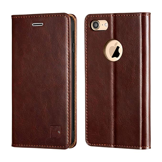 iphone 8 brown leather flip case