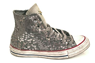 separation shoes edafb 601d5 Converse Women s 1C16FA19 Grey Sequins Hi Top Sneakers