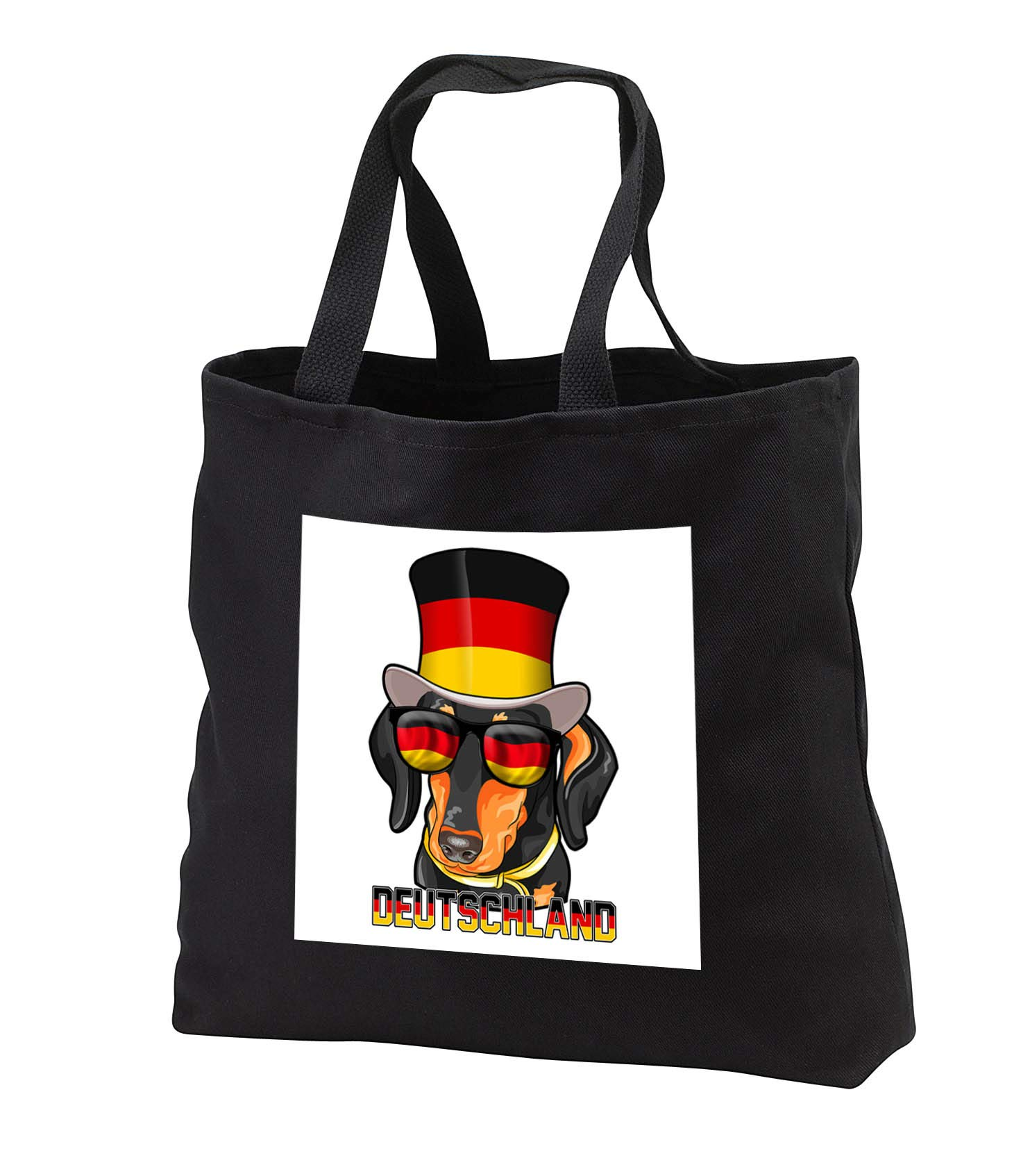 Carsten Reisinger - Illustrations - Germany Dachshund Dog with German Flag Top Hat and Sunglasses - Tote Bags - Black Tote Bag JUMBO 20w x 15h x 5d (tb_293424_3)