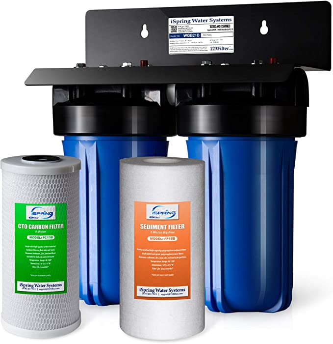 "iSpring WGB21B 2-Stage Whole House Water Filtration System, 4.5""X10"" Big Blue, 1"" Ports, 1-Set Filter Cartridge Included"