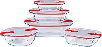 pyrex cook heat set of 5 glass dishes with airtight lids microwave safe bpa free