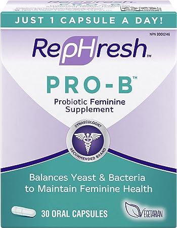 RepHresh Pro-B Probiotic Feminine Supplement Capsules, 30 Count