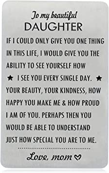 Amazon Com Gifts For Daughter From Mom To My Daughter Engraved Wallet Card Inserts With Inspirational Quotes Christmas Birthday Wedding Graduation Gift Ideas Office Products