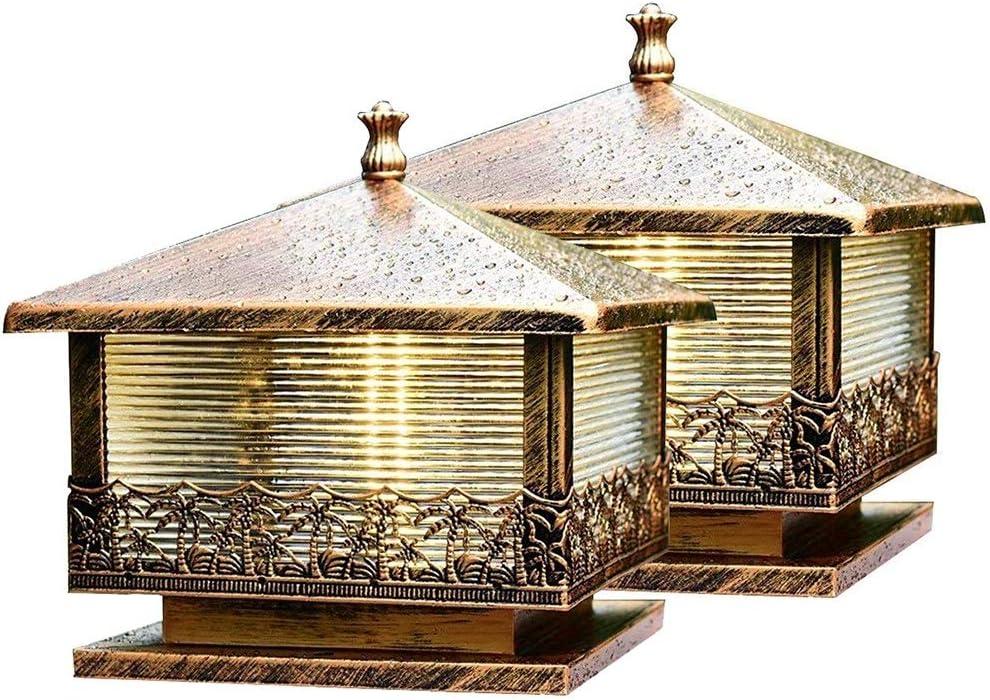 Belief Rebirth 2 Paquete De Bronce Lámparas De Correos Antiguos |De Fundición De Luz Columna De Hierro con Paneles De Vidrio |El Exterior del Paisaje Accesorio De Iluminación De La Linterna