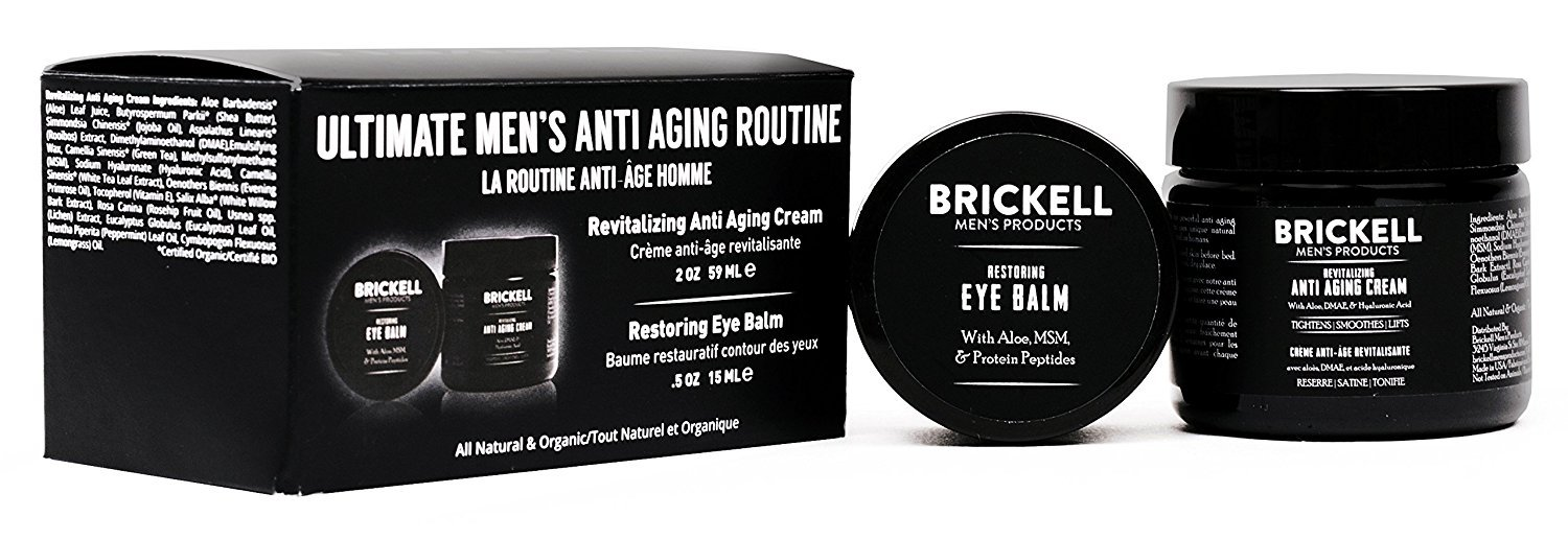 Brickell Men's Ultimate Anti-Aging Routine - Anti-Wrinkle Night Face Cream and Eye Cream to Reduce Puffiness, Wrinkles, Dark Circles, Under Eye Bags - Natural Brickell Men's Products