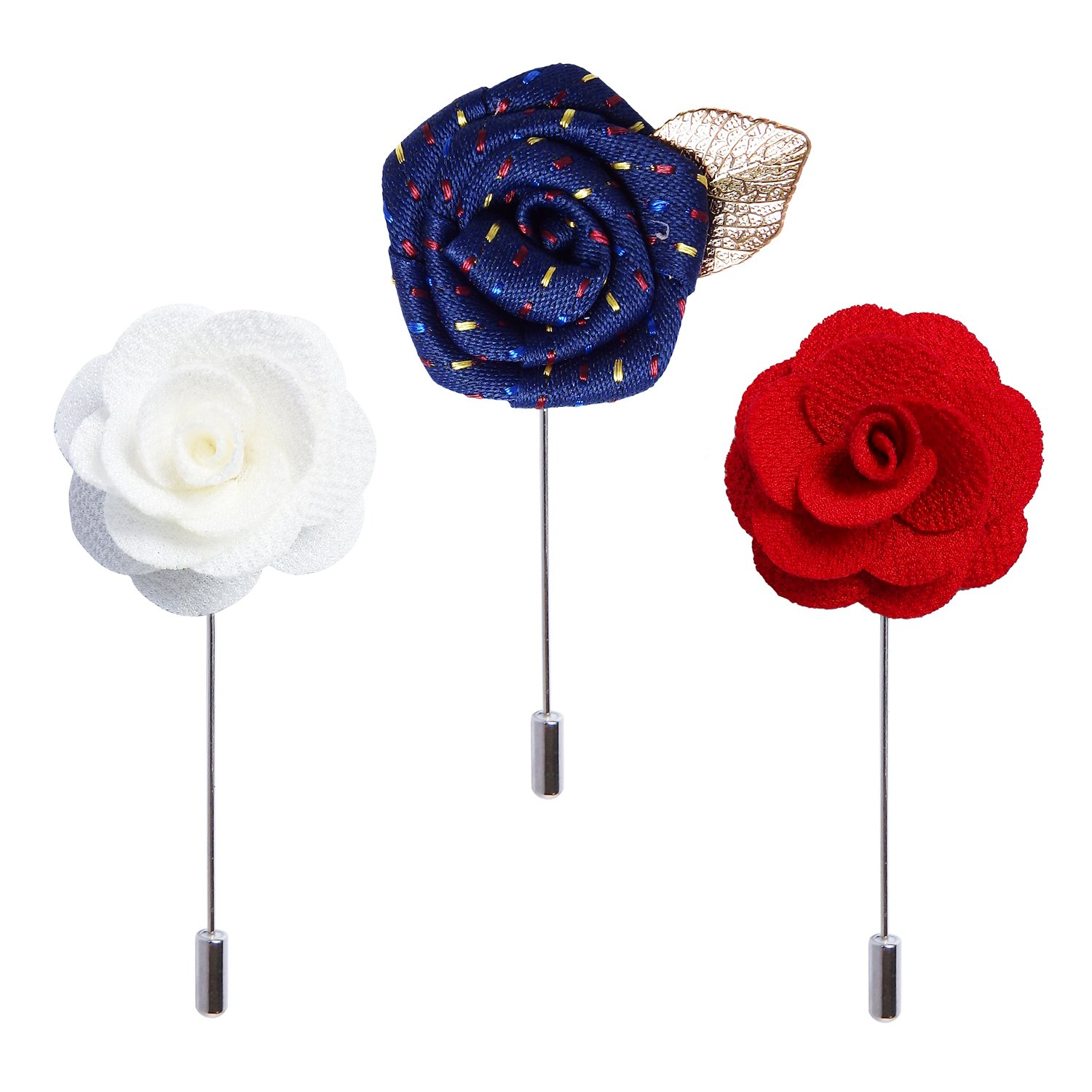 RareLove 3pcs Wedding Rose Boutonniere Lapel Pins Set For Men Flower White Red Blue MBR103
