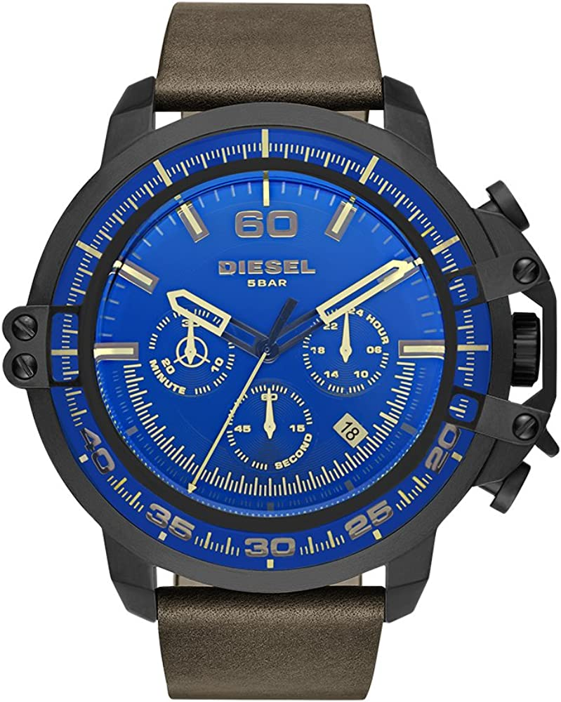 Diesel Men s Deadeye Stainless Steel Analog-Quartz Watch with Leather Calfskin Strap, Brown, 24 Model DZ4405