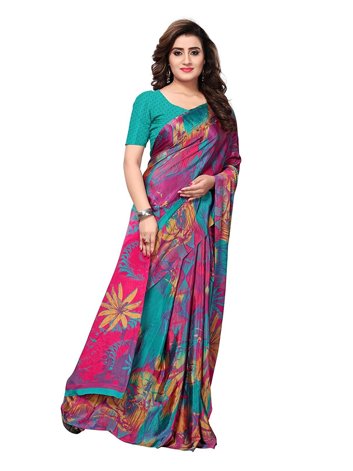 20cac4982908a KANCHNAR Women s Crepe Saree With Blouse (715S1023  Multi Color  Free  Size)  Amazon.in  Clothing   Accessories