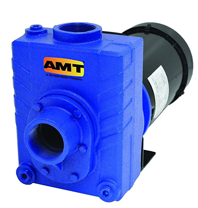 "AMT Pump 2761-95 Self-Priming Centrifugal Pump, Cast Iron, 2 HP, 1 Phase, 115/230V, Curve B, 2"" NPT Female Suction & Discharge Ports"