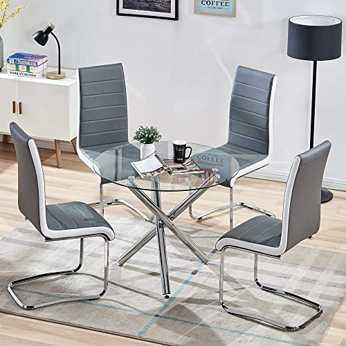 STYLIFING Dining Room Set Round Clear Glass Top Crisscrossing Chrome Metal Legs Kitchen Table and 4 Modern High Back Grey Faux Leather Chairs Home Kitchen Office Waiting Room Use
