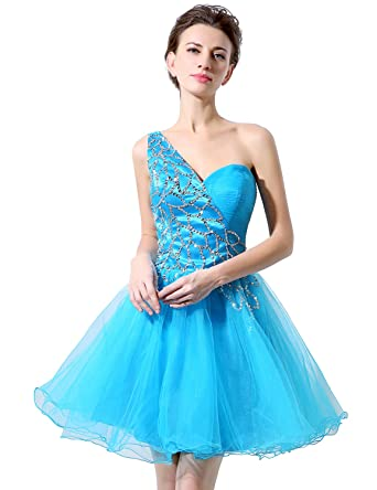 Clearbridal Womens Sky Blue Tulle A-Line Party Dress One Shoulder Bridesmaid Cocktail Prom Gown