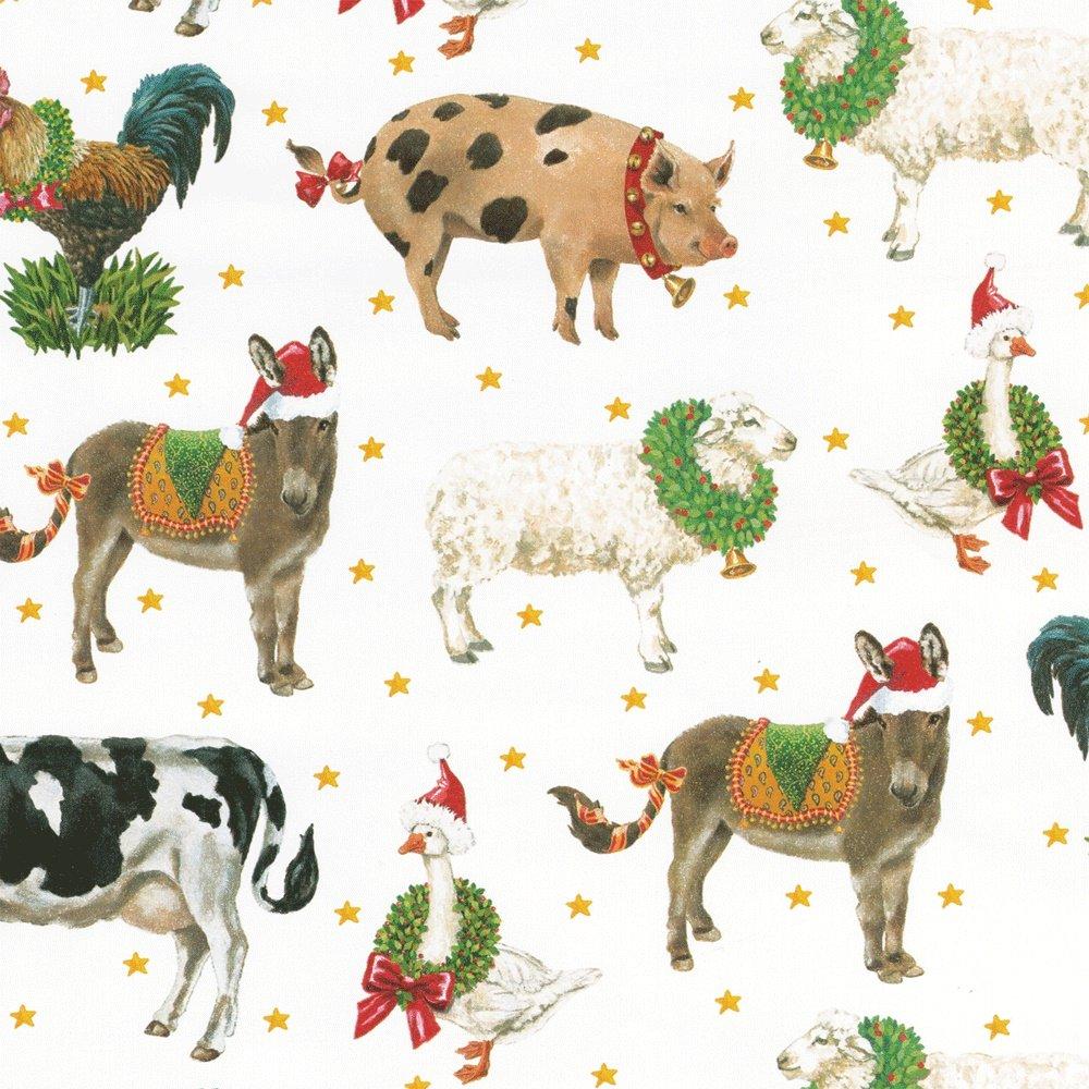 Caspari Continuous Wrapping Paper, Busy Santa, 8-Feet 9577RC