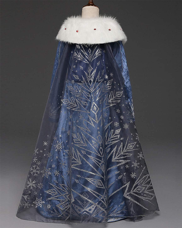 YOSICIL Ni/ñas Cosplay Vestido de Princesa Elsa con Capa Vestido de Frozen Manga Larga Vestido Largo Disfraz Azul Dulce Disfraz Ceremonia de Fiesta Halloween Navidad 3-9 a/ños 100-150cm