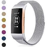 Gogoings Para Fitbit Charge 3 Correa - Pulsera de Reemplazo Ajustable Acero Inoxidable Banda Compatible con Fitbit Charge3 para Mujeres y Hombres (Sin Reloj) (Argentado, S)
