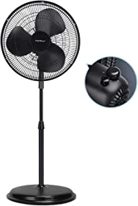 "Aigostar Summer Cooling Oscillating Stand Fan, 16"" Standing Room Fans for Home, Office Air Circulating, Black Fan Eastand"