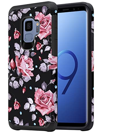 Galaxy S9 Case For Girls Women Samsung S9 Floral Case Oeago Shockproof Heavy Duty Protection Dual Layer Armor Protective Case Cover For Samsung