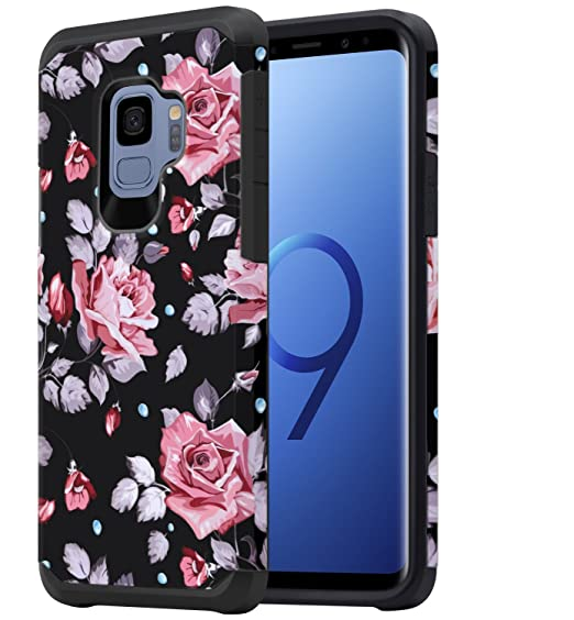 super popular 7e89c a3fb2 Galaxy S9 Case for Girls Women, Samsung S9 Floral Case, OEAGO Shockproof  Heavy Duty Protection Dual Layer Armor Protective Case Cover for Samsung ...