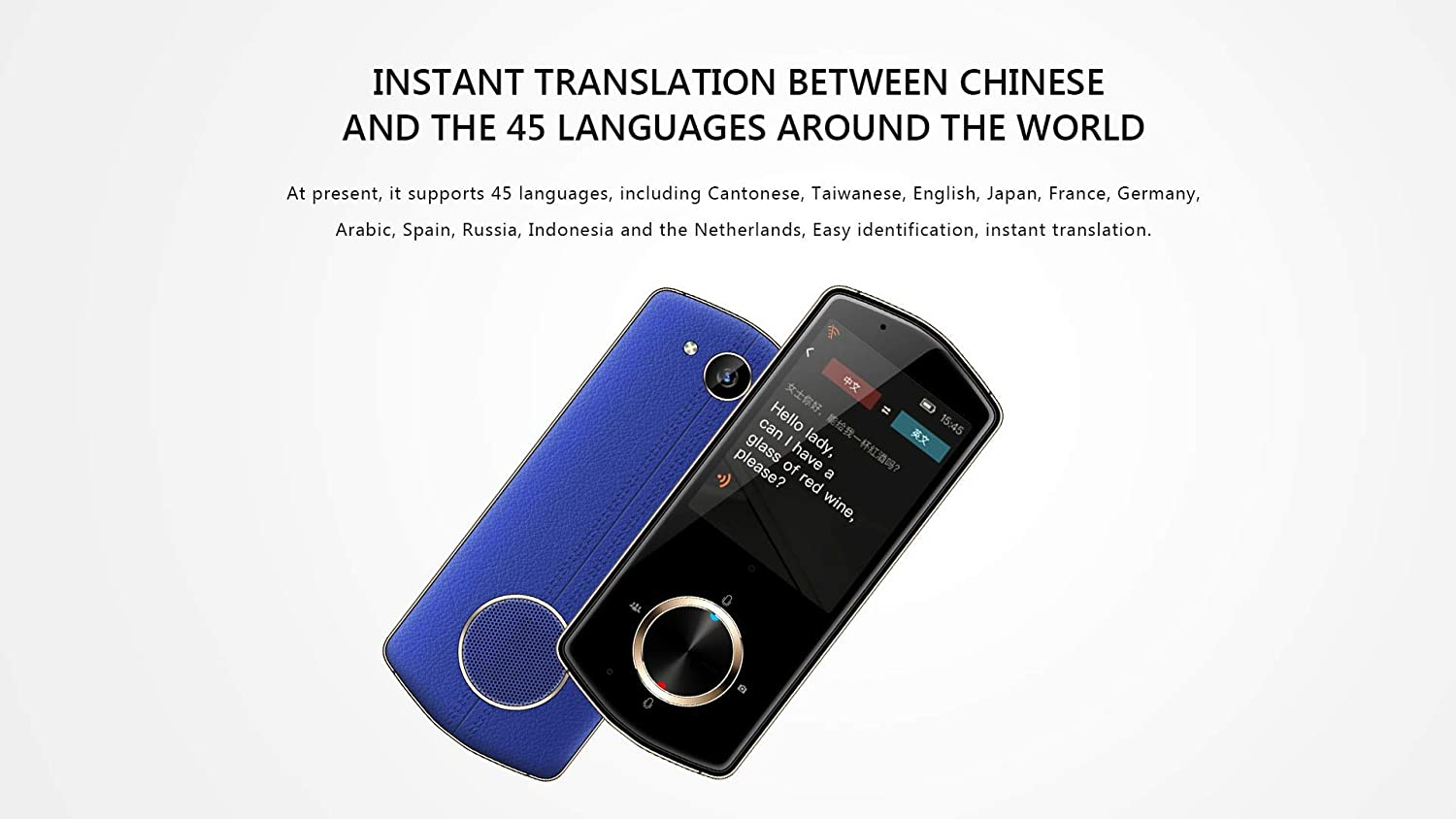 Blue DINGDING Smart Voice Photo Language Translator Device,2.8 Inch IPS Touch Screen 4G WiFi Two Way Real Time Instant Support 45 Languages Meeting Rohs//CE