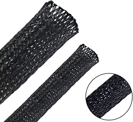 Also Available in 1//8, 1//4, 3//8, 3//4 /& 1 inch GS Powers Braided Expandable Sleeving Cable Loom Polyethylene PET High Temperature Electrical Wire Sleeve Black 1//2 50 ft
