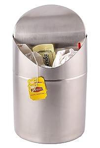 Estilo Mini Countertop Trash Can, Brushed Stainless Steel, Swing Top Trash Bin 1.5 L / 0.40 Gal