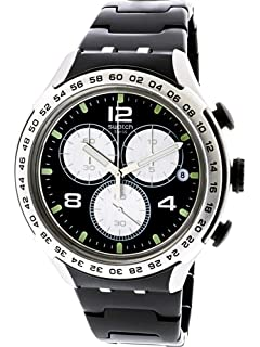 Swatch Irony Night Attack Black Dial Aluminium Mens Watch YYS4026AG