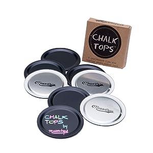 Chalk Tops - Reusable Chalkboard Lids for Mason Jars - 8 Pack - Regular Mouth
