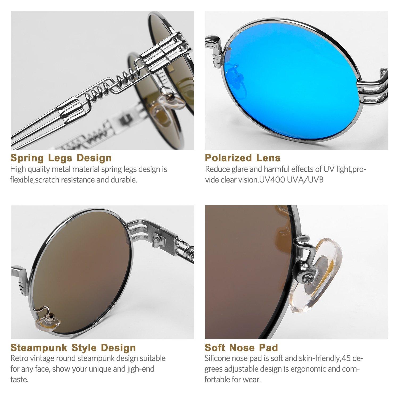 c84a3c792780 Amazon.com  Steampunk Round Polarized Sunglasses Retro Vintage Circle  Spring Style Frame Metal Hippie Sun Glasses for Men Women Classic Gothic  Glasses (Blue ...