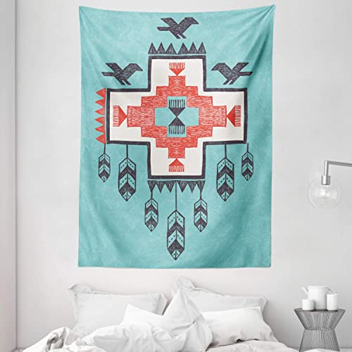 Ambesonne Tribal Tapestry, Hand Drawn Dreamcathcher Folkloric Birds Image, Wall Hanging for Bedroom Living Room Dorm, 60 X 80 , Teal Coral