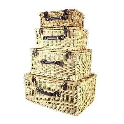 Finegiftsuk Set de 4 Tradicionales de Almacenamiento cestas Cesta Mimbre De Varios Tamaños – Ideas de