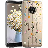 5-Blair Slim fit Case for Motorola Moto G5 Plus Case Flower Clear Soft TPU Transparent Silicone Shockproof Protective Cover M