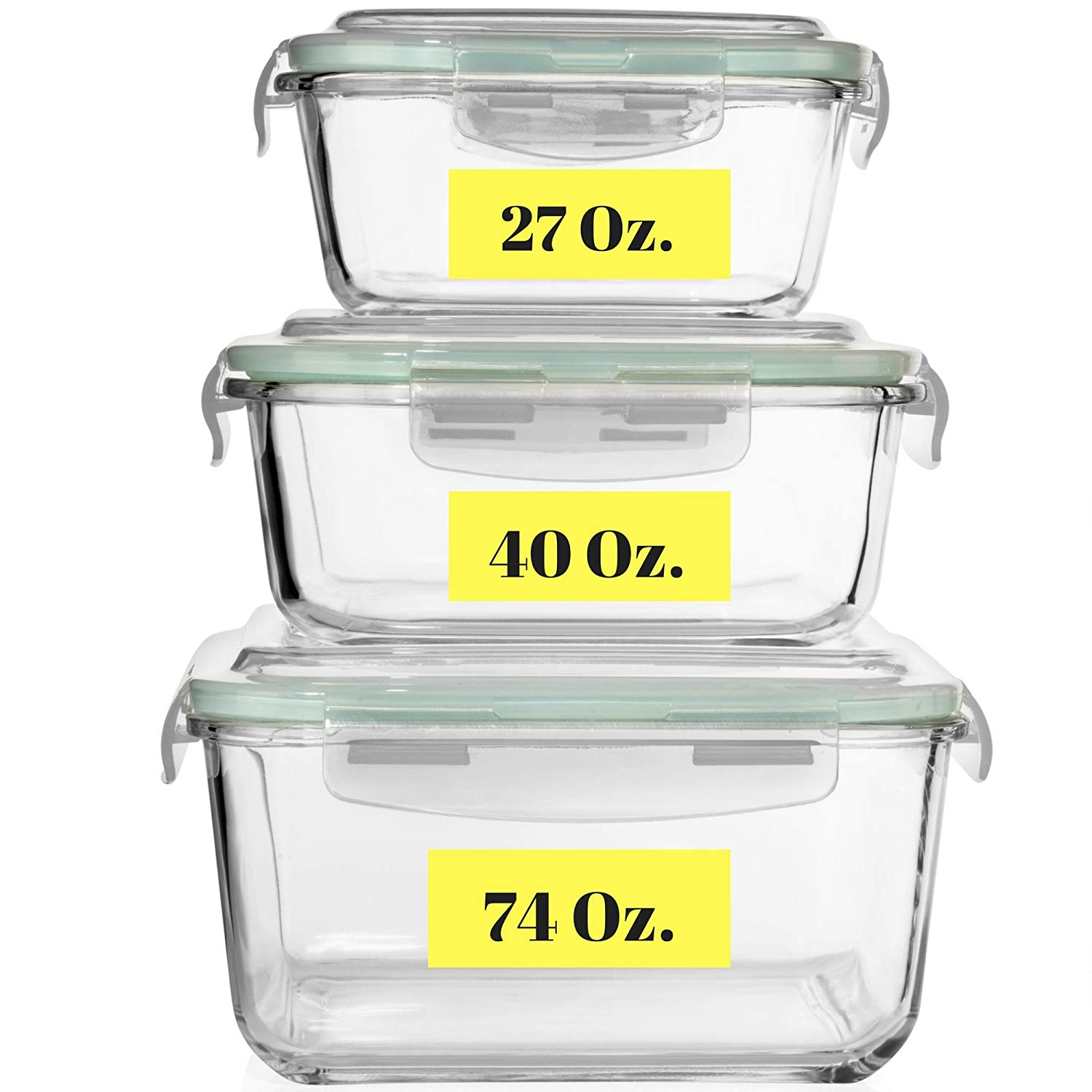 Extra Large Glass Food Storage Containers with Airtight Lid 6 Pc [3 containers with lids] Microwave/Oven/Freezer & Dishwasher Safe. BPA/PVC Free X-Large/Large/Medium Size Reusable Square container set