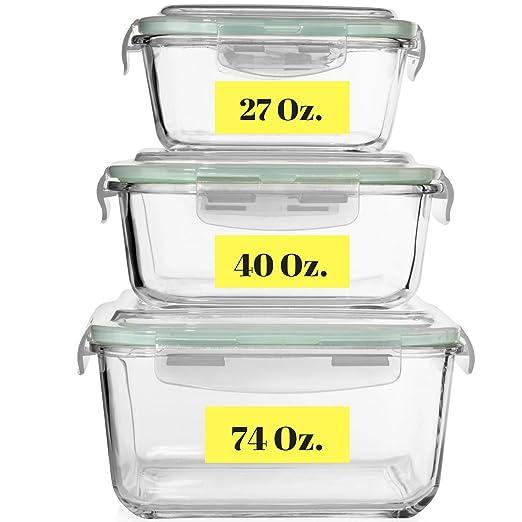 Contenedores de almacenamiento de alimentos de cristal extra ...