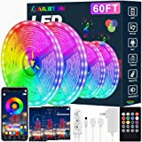 Led Strip Lights,60ft Led Light Strip Music Sync Color Changing RGB Led Strip Built-in Mic,Bluetooth App Control LED…