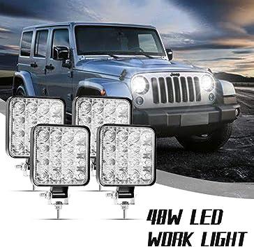 2er LED Arbeitsscheinwerfer 48W IP67 Offroad Zusatzscheinwerfer SUV Quadrat Jeep