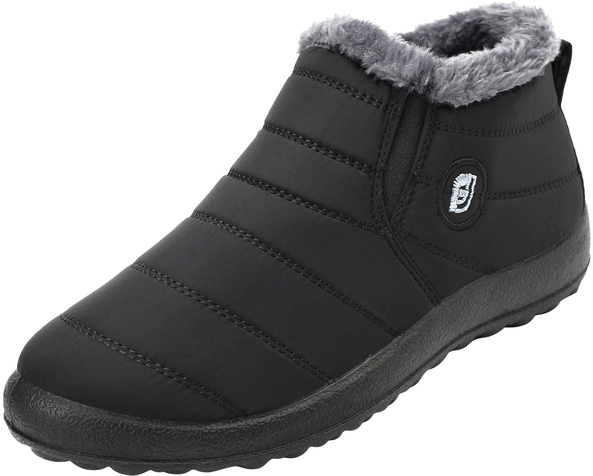 FEETCITY Snow Boots for Women, Unisex Winter Outdoor Slip On Ankle Snow Booties with Cotton Lined Black Women 7.5 B(M) US