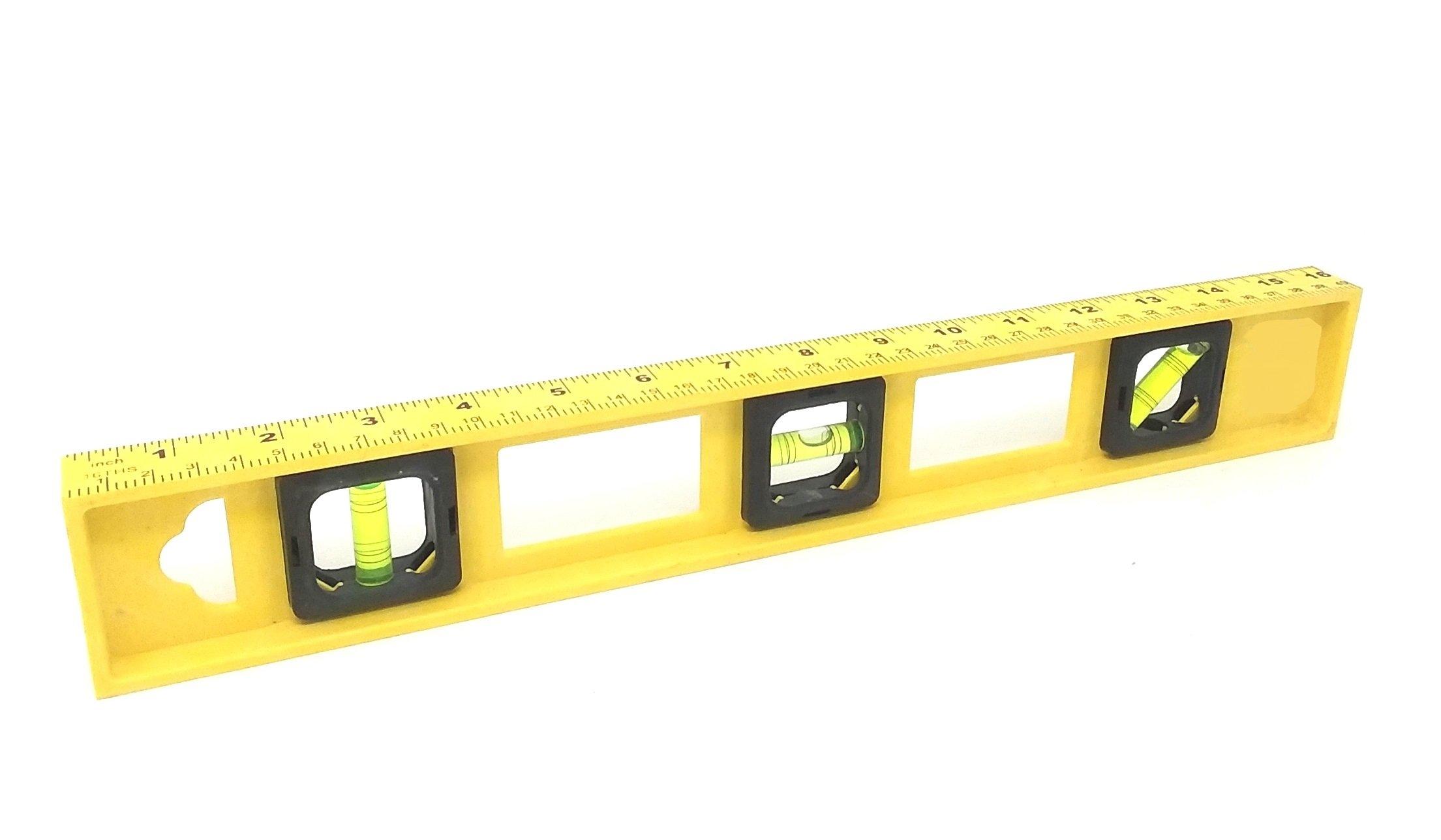 12 Yellow 16 Inch Torpedo Level With RULER 3 Vial Plastic WHOLESALE BULK LOT