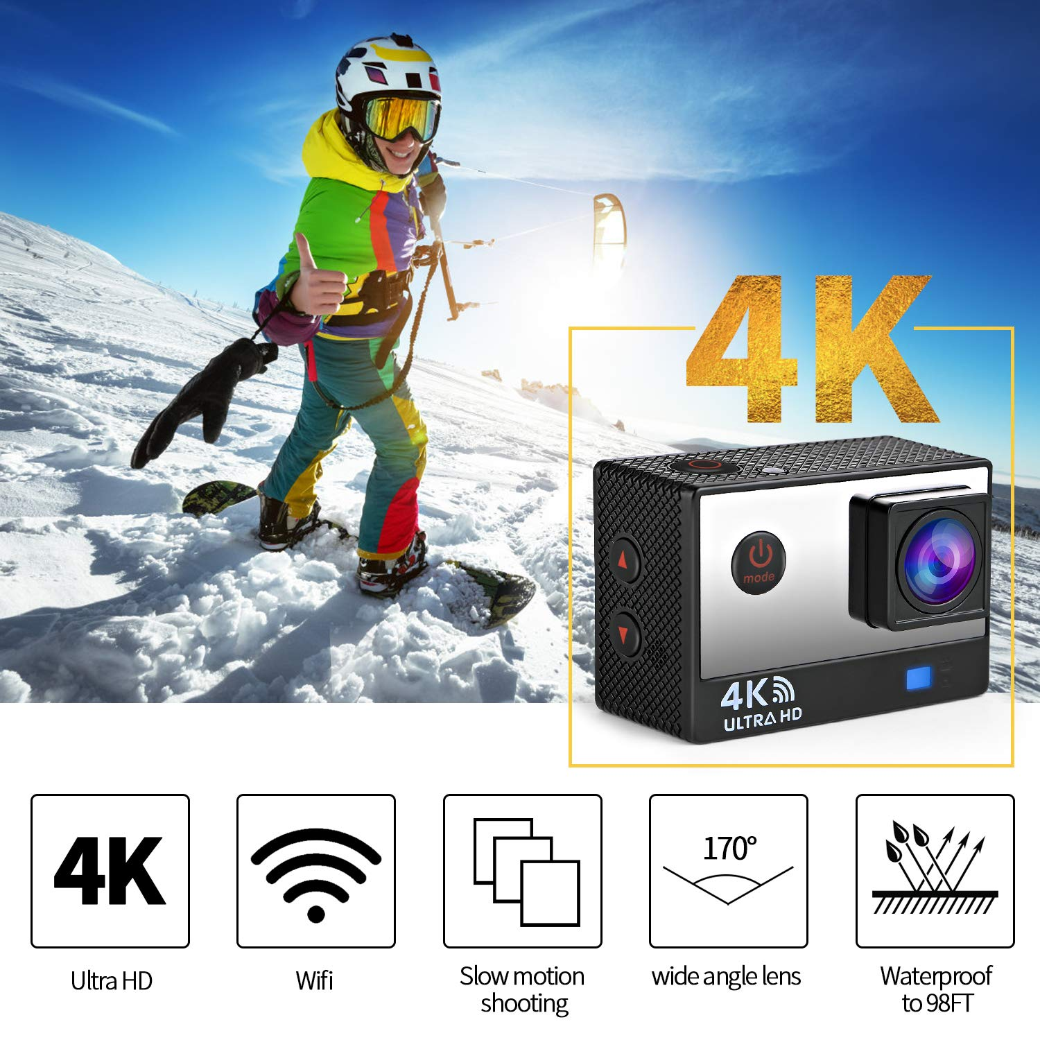 Ifecco 4K WiFi Sports Action Camera Ultra HD 16MP Waterproof Camera Underwater 30M Wide View Angle 170 ° with 2 1050mAh Batteries and Remote Control (Black)