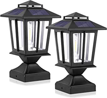 Metal Solar Post Lights Outdoor, Waterproof Fence Post Solar Lights, Wood Vinyl 4X4 Solar Post Cap Lights, LED Illuminated Deck Post Lights Decorations for Garden Yard Patio Porch, Warm White(2 Pack)