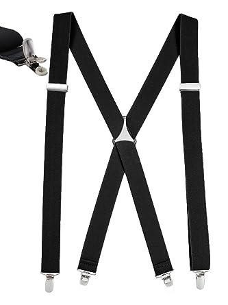 41368a142 Mens Elastic X Back No Slip quot Pin Clip quot  Straight Clip Suspenders -  Black (