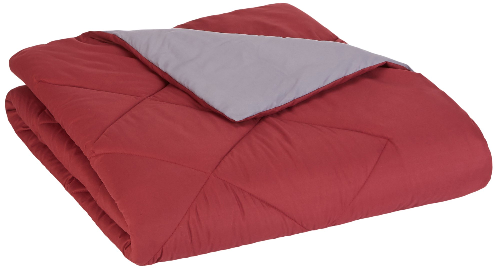 AmazonBasics Reversible Microfiber Comforter - Twin/Twin XL, Burgundy