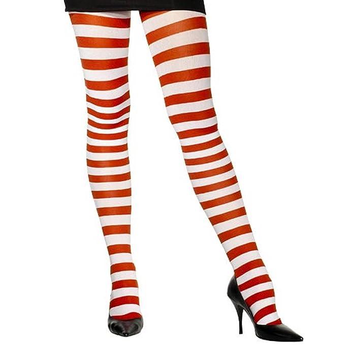 Pantis opacos, rayas rojos y blancos para disfraces de halloween y carnaval.
