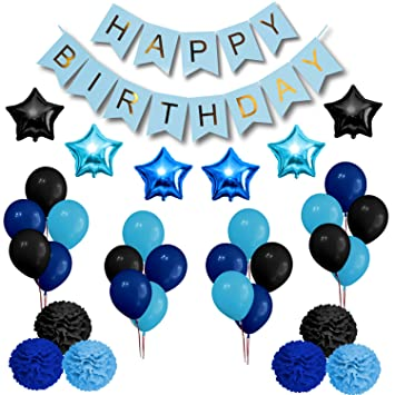 party decorations set happy birthday decoration banner and balloons elegant black blue and