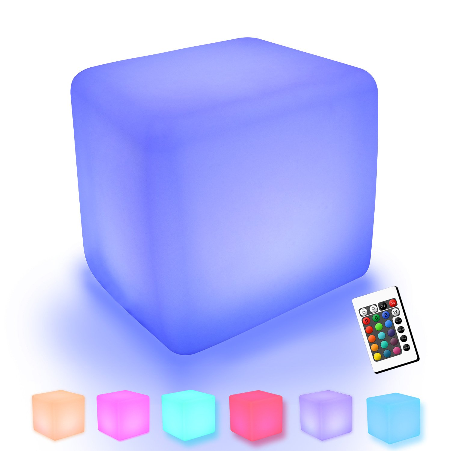 YUMEITECH Outdoor Indoor RGB Color Changing 16'' LED Cube Lights with Remote Control ,Rechargeable,Mood Lamp ,Waterproof,Glowing Furniture , Living Garden Light Décor