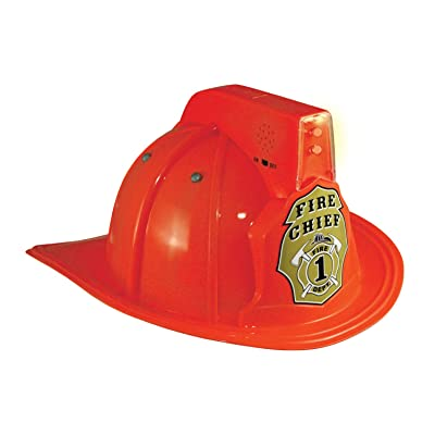 Jr. Fire Fighter Red Helmet w/Lights & Siren Costume Hat Child: Clothing