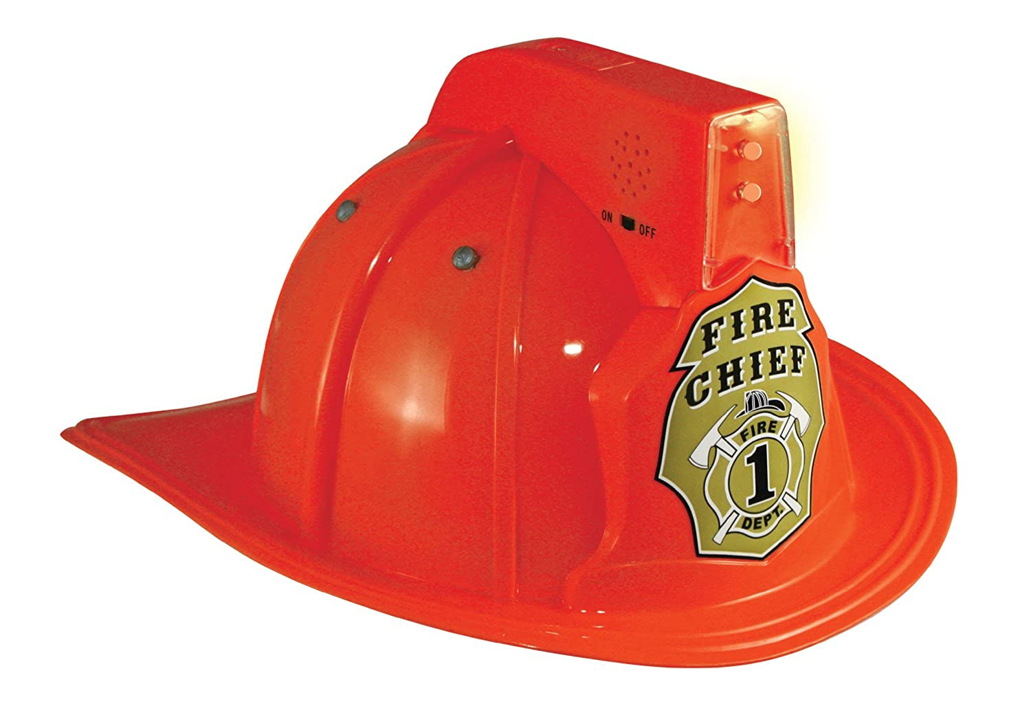 Jr. Fire Fighter Red Helmet w/Lights & Siren Costume Hat Child Aeromax FFR-HELMET