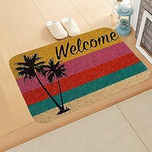 GUAGLL Indoor/Outdoor Welcome Doormat Flannel Absorbable Kitchen Mat Welcome Home Sweet Home Printed Door Carpet
