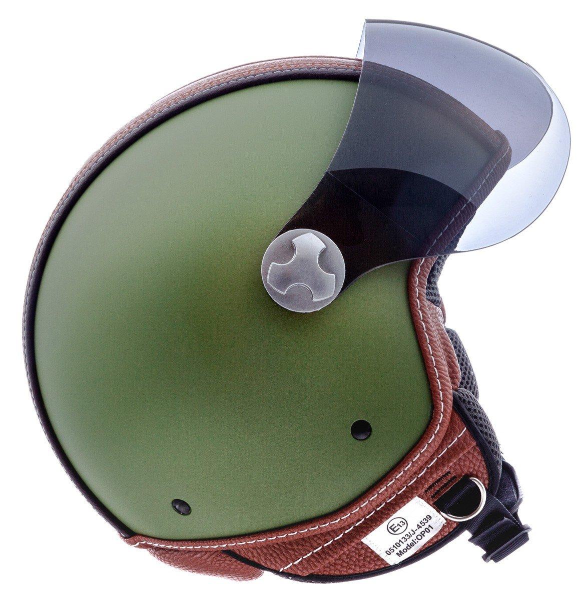 "ARMOR · AV-84 ""Vintage Deluxe Green"" (Grün) · Jet-Helm · Roller Motorrad-Helm Scooter-Helm Mofa Chopper Bobber · ECE certified · Visier · Click-n-Secure Clip · Tragetasche · XL (61-62"